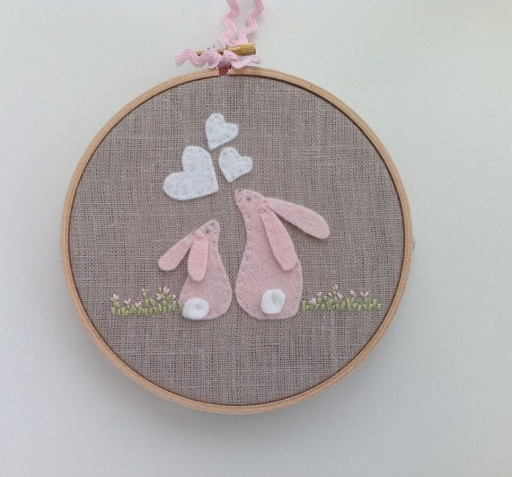 Pink felt rabbit hoop art, baby shower gift, nursery decor, baby girl gift