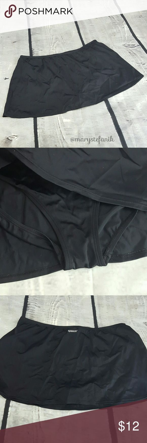 """Speedo Black Swim Skirt Bikini Bottom size 16 Speedo Black Swim Skirt Bikini Bottom size 16 in excellent used condition. Skirt layer measures approximately 16"""" waist seam to seam and 11.5"""" length. Great neutral color!  Please let me know if you have any questions. Happy Poshing! Speedo Swim"""