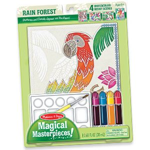 NEW! Magical Masterpieces - Watercolour Resist (Rainforest) - A little magic helps kids create the perfect masterpiece every time! Special water-colour resist lines, dots and shapes appear only as paint soaks into the spaces between - creating crisp outlines and amazing detail. Simple enough for beginners, but engaging enough to fascinate older kids too. Set includes four themed scenes, four watercolour paints, brush, mixing tray and instructions. (Product Number MD8558) $9.98 CAD