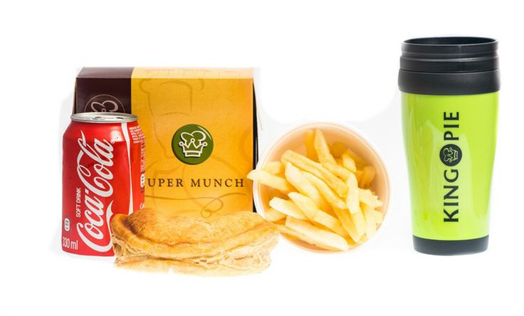 The King Pie, Kings Meal with any large pie, regular chips, and 330ml soft drink and a FREE thermal mug for R32.  King Pie - 014 537 2726.