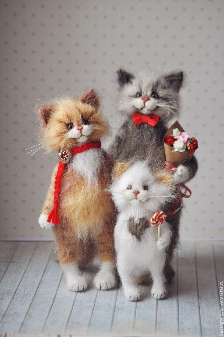 Купить МАМА + ПАПА + Я Вязаные кошки - кот, котики, Кошки