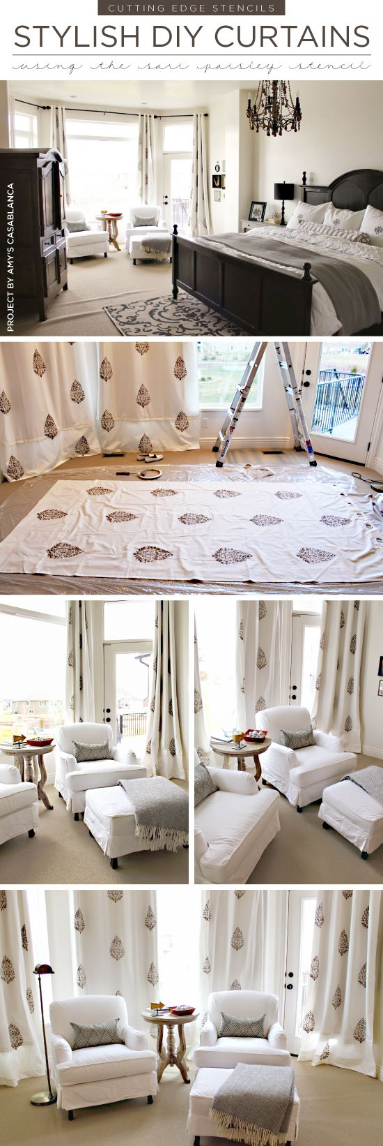 Best 25 paisley stencil ideas on pinterest paisley pattern cutting edge stencils shares diy stenciled curtains in a master bedroom using the sari paisley stencil amipublicfo Image collections