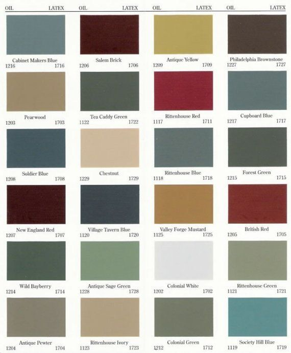Primitive color chart old village paints primitive for Country home interior paint colors