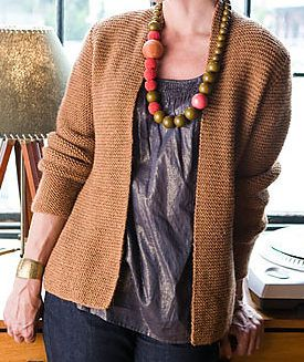 Free Knitting Pattern for Garter Stitch Cardigan Avocet B - Nora Gaughan designed this easy elegant garter stitch cardigan sweater with shaping. XS (S, M, L, 1X, 2X)