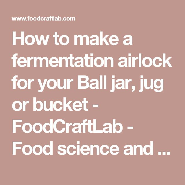 How to make a fermentation airlock for your Ball jar, jug or bucket - FoodCraftLab - Food science and the quest for flavor