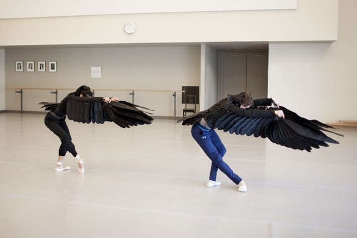 First Soloists Jenna Savella and Robert Stephen    work with the stunning wings designed by Michael Levine. Photo by Karolina Kuras.