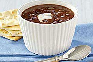 This is my favorite black bean soup recipe!  Totally yummy...I substitute sour cream in place of the yogurt and I puree it all together for a smooth texture...perfect with side of crusty bread.  mmm...