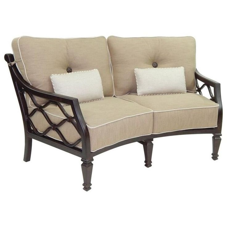 Villa Bianca Cushioned Crescent Loveseat w/ Two Kidney