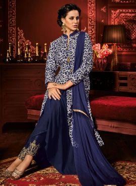 Blue Indowestern style party wear Indian Punjabi dress in art silk F17063