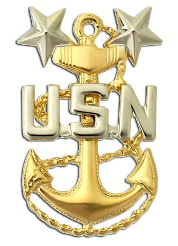 NAVY COLLAR DEVICE, MASTER CHIEF PETTY OFFICER E9, GOLD PLATED