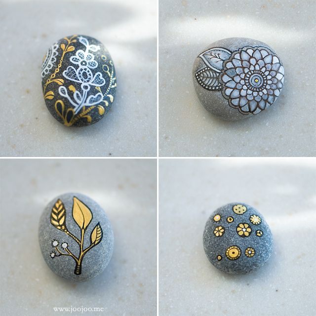Gold, black and white pebbles by {JooJoo}, via Flickr