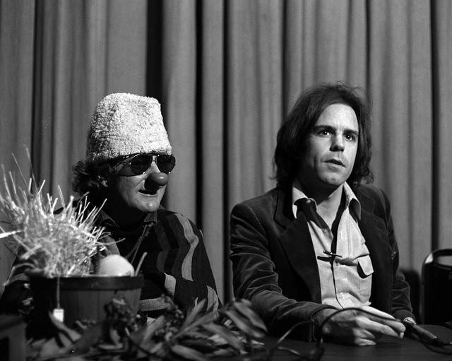 The infamous Wavy Gravy and Bob Weir (both Seva board members) at a Seva press conference.  Learn more about Seva at http://www.seva.org