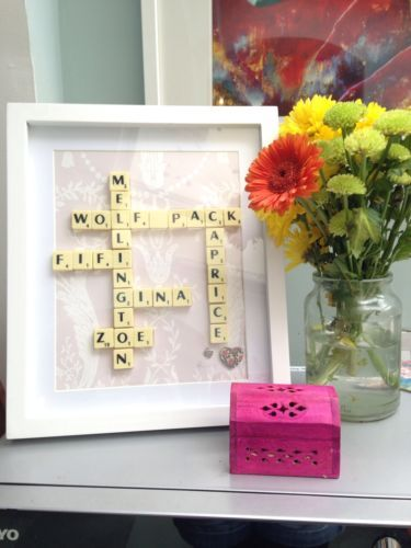 SCRABBLE ART KITSCH. Personalised Mothers Day, Birthdays, Wedding GIFT