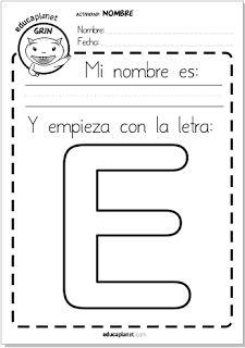 Mi nombre es... E de EVA cartel Fichas de #lectoescritura - apreder letreas #leer #Preescolar #kinder #alfabet #Free #Worksheet #spanish by Eva Barceló - evacreando- for Educaplanet #Primaria #fichas #colegio #maestros ilustración infantil