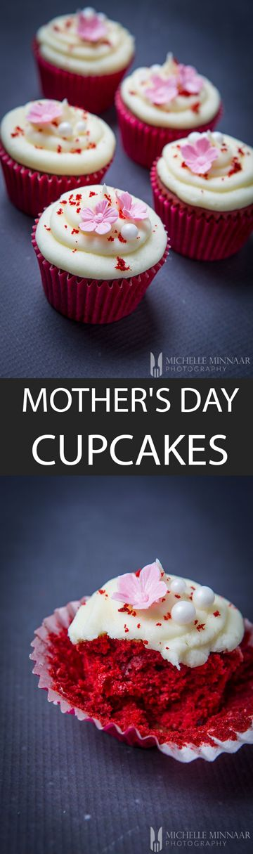 Mother's Day Cupcakes - {NEW RECIPE} These Mother's Day Cupcakes are actually red velvet cupcakes with cream cheese frosting. Bright red and decorated with pretty flowers, what's not to love?