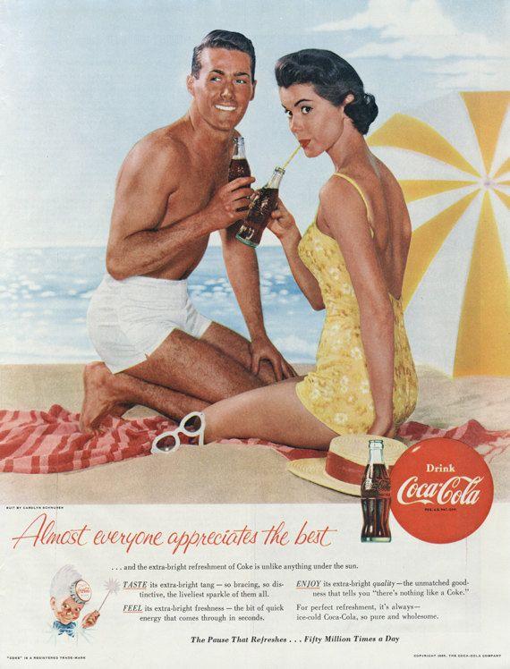 Vintage Coca Cola Ad Retro Couple Beach Photo 1955 Coke