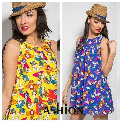 👑1️⃣3️⃣3️⃣0️⃣руб👑 Платье короткое с принтом девушек в шляпках №744e Размер: S; L Производитель: VERONIKA MILTON Ткань: Шифон Длина: Мини Цвета: сини, желтый, красный.