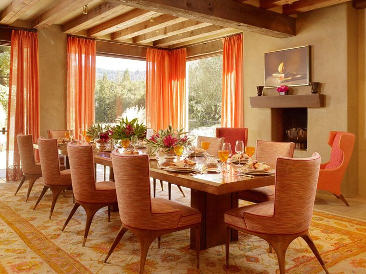 17 Best ideas about Orange Dining Room