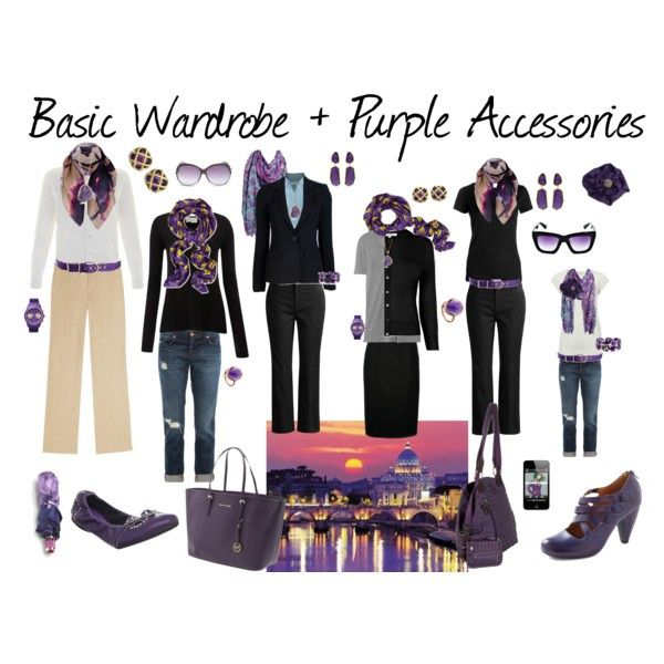 """Basic Wardrobe + Purple Accessories"" by susanmcu on Polyvore"