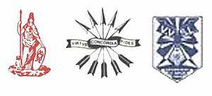 Logo's van de Leidse studentenvereniging Minerva. Erik Hazelhoff was hier lid van.