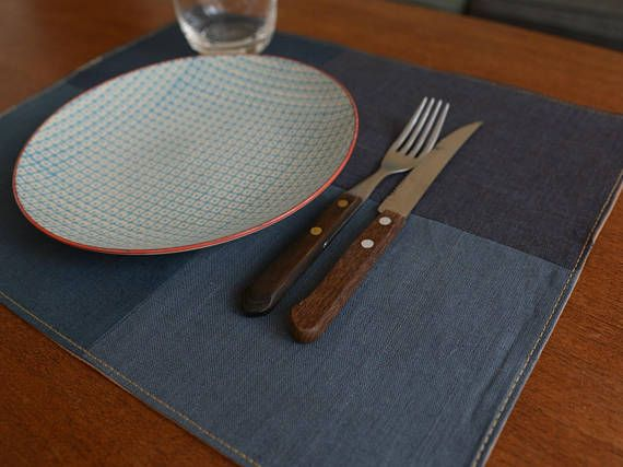 Industrial Style Linen Placemats set of 4  Gray Blue