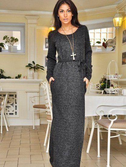 Ангоровое длинное темно-серое платье в пол, фото 1
