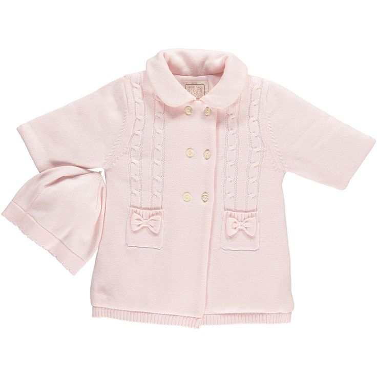 Emile et Rose - Baby Girls - Double breasted Coat with pockets & Hat