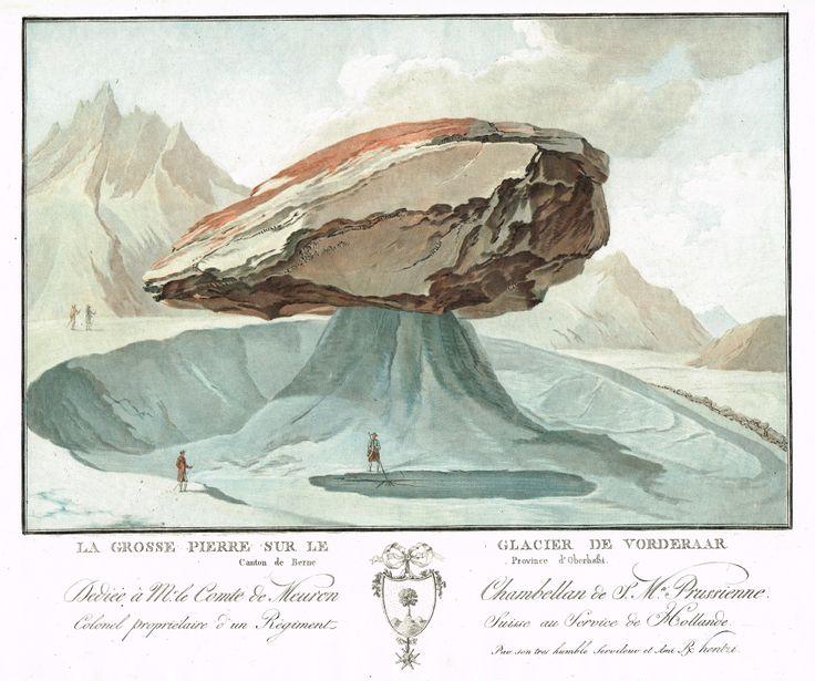 La grosse pierre sur le Glacier de Vorderaar, Canton de Berne, Province d'Oberhasbi - Aquatinte - gravure imprimée en couleurs par Charles-Melchior DESCOURTIS (1753-1820) d'après Caspar WOLFF (1735-1798) - MAS Estampes Anciennes - MAS Antique Prints