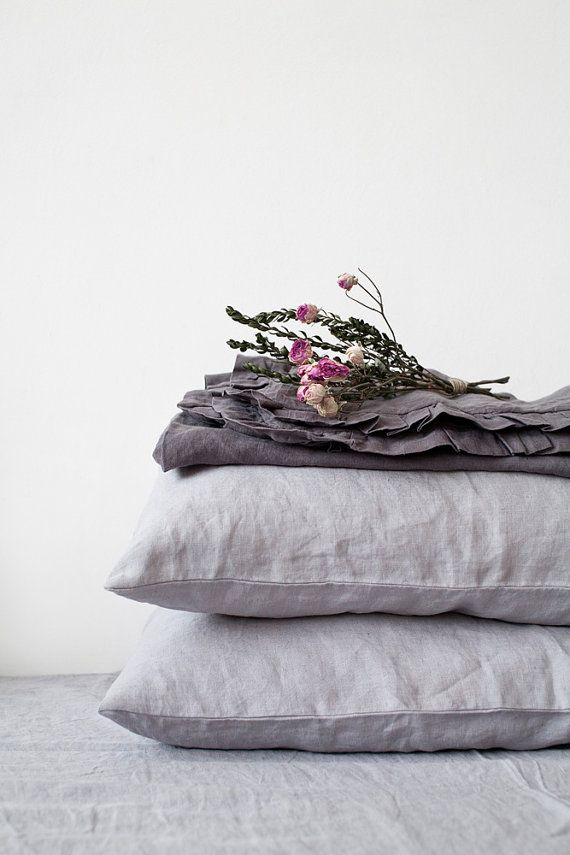 Set of 2 Light Grey Stone Washed Linen Pillow by LinenTalesInBed