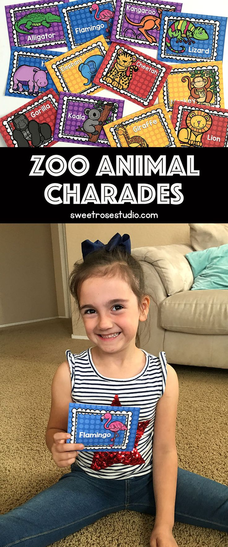 FREE Zoo Animal Charades cards can be tailored to fit learning at all levels!