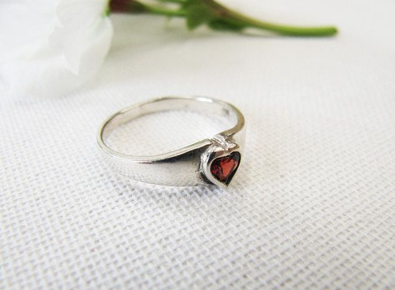 Vintage Sterling Silver and Garnet Heart Ring Silver Heart