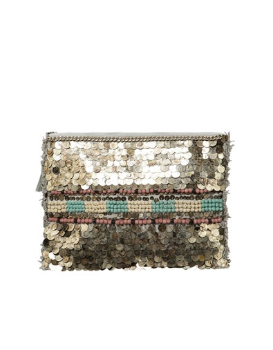 Evening Bag with Metallic Sequins and Fringing.