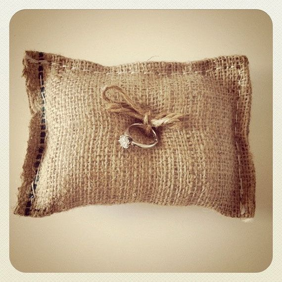 Burlap wedding ring bearer pillow (add some lace and this would be perfect)