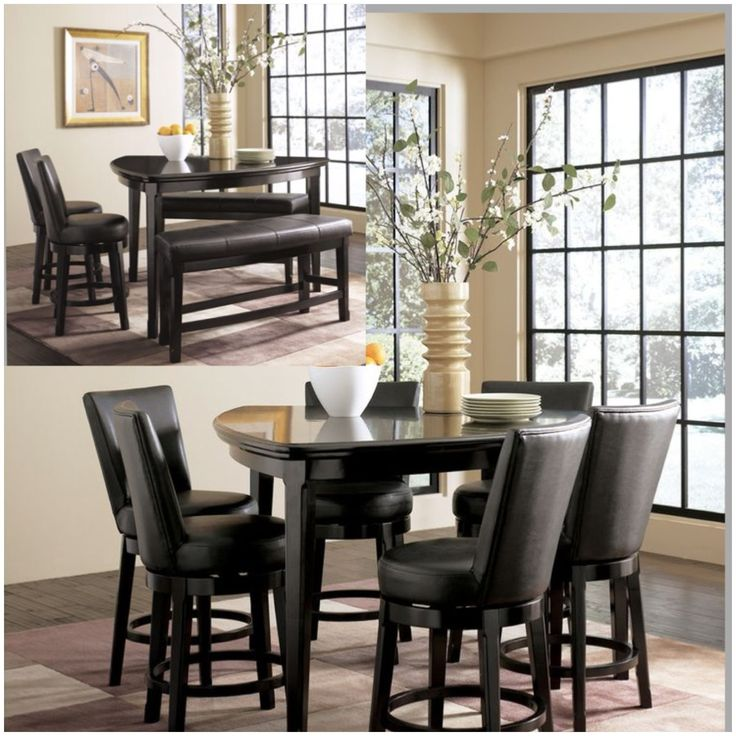 Ashley Millennium Emory Triangle Pub Table Set With 6 Upholstered Swivel Bar Stools