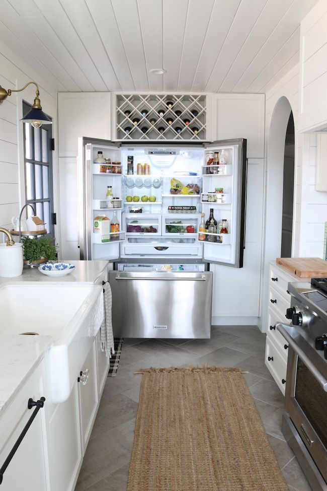 How we chose our kitchen appliances, white kitchen, stainless steel refrigerator