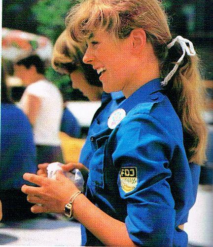 "Mädchen in blauer FDJ Bluse ---- girl dressed in the blue blouse of the ""Freie Deutsche Jugend"" ( #GDR )"