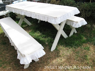 """Sweet Magnolias Farm"" Slip covered picnic table and benches. from Sweet Magnolia's Farm, March 2012... use drop cloth to create these!: Company Picnics, Sweet Magnolias, Summer Picnics, Cute Ideas, Kitchens Tables, Farmhouse Picnics, Picnics Tables, Vintage Linen, Magnolias Farms"