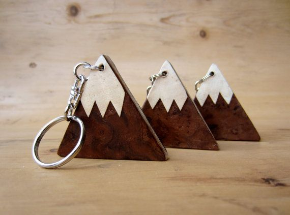 Wooden keyring  keychain  key fob. Mountains. Covered on both sides by real wood veneers. Snow capped mountain design.