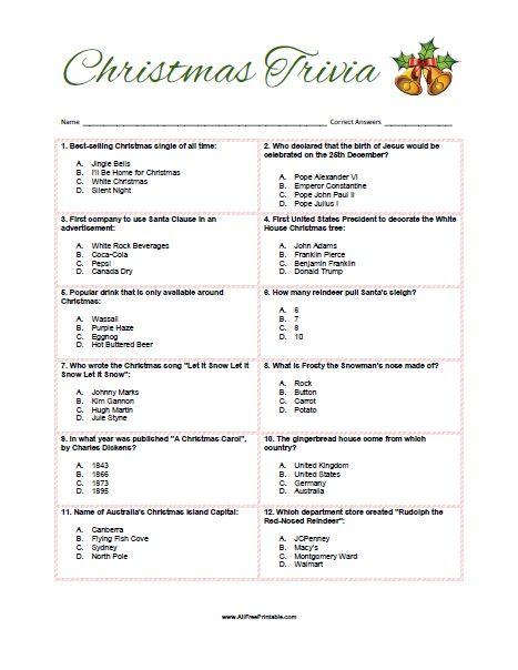 Free Printable Christmas Trivia Game. Free Printable Christmas Trivia Quiz for your next ...