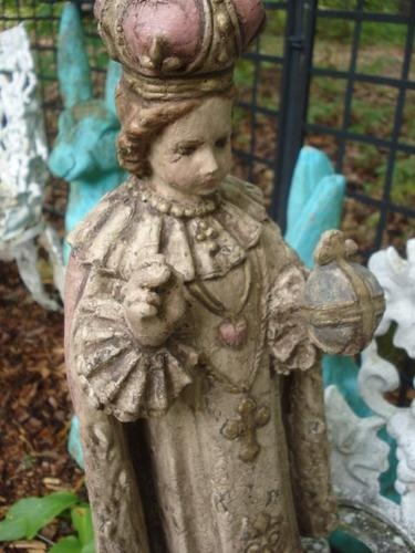 Vintage Cement Garden Statue Infant of Prague Jesus Crown & Sacred Heart