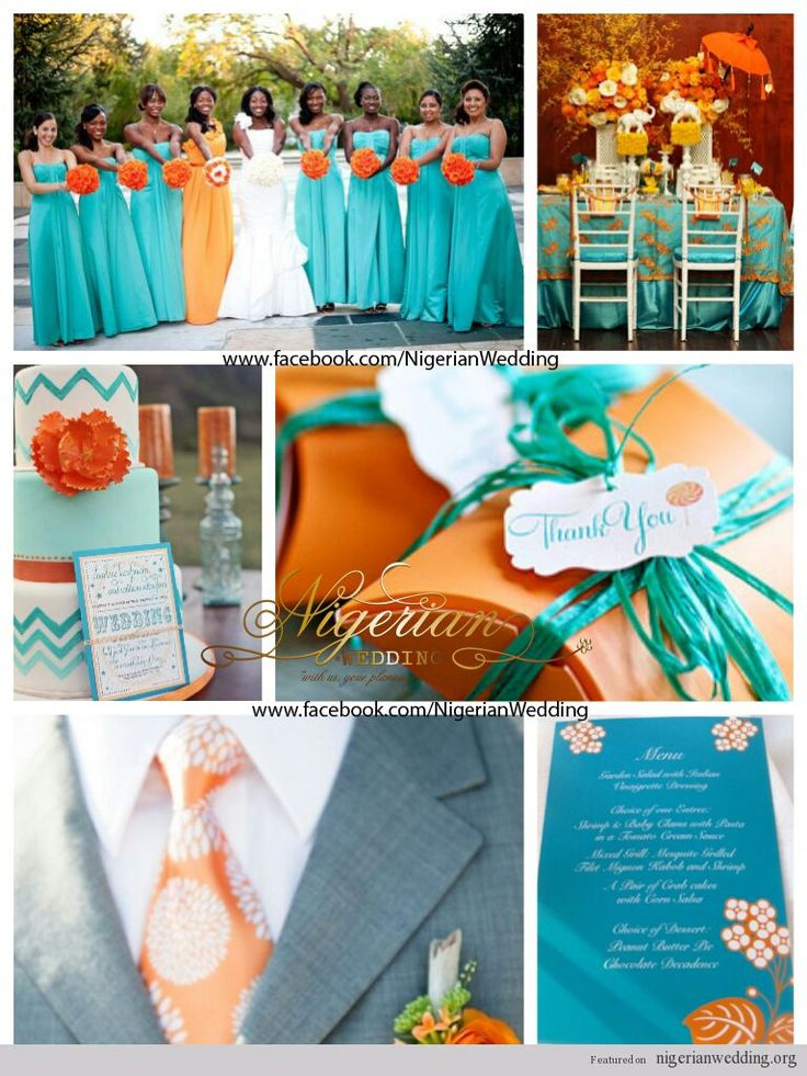 teal and orange wedding
