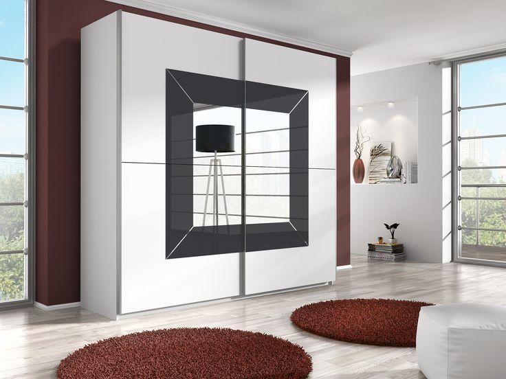 Beta biały/grafit- szafa D2+ lustra