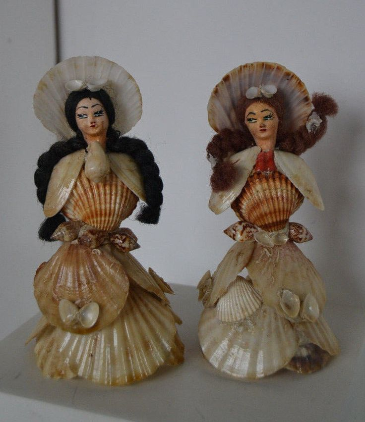 Vintage sea shell doll victorian lady hand painted tiny for Arts and crafts with seashells