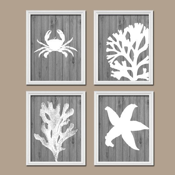 Beach Coastal Wall Decor : Beach bathroom wall art canvas or prints nautical