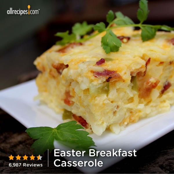 "Breakfast Casserole | ""Yum. This was a big hit for Easter brunch, layered the potatoes, crunchy bacon, eggs and onion with cheese. The cheese stayed on top, but the eggs will puff up in the oven. Added a fruit salad, bread, and brunch is done."" http://allrecipes.com/recipe/easter-breakfast-casserole/Detail.aspx"