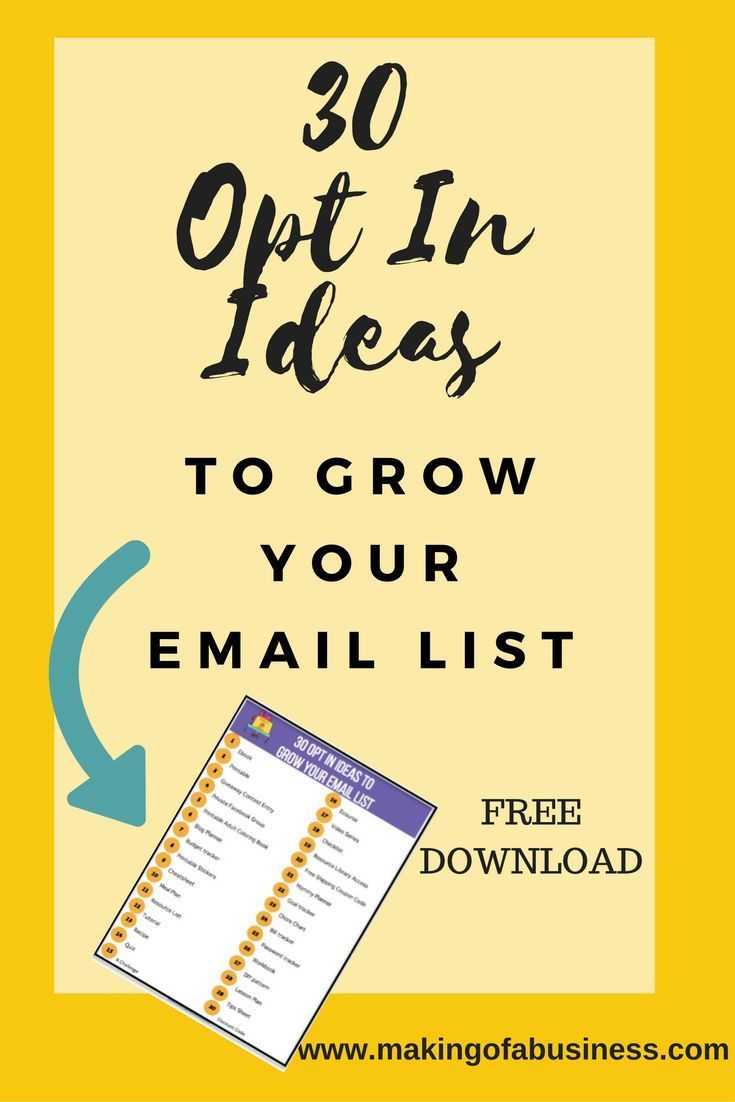 Do you need opt in ideas to help grow your email list? Click here for a free download of 30 opt in ideas for group your email list.