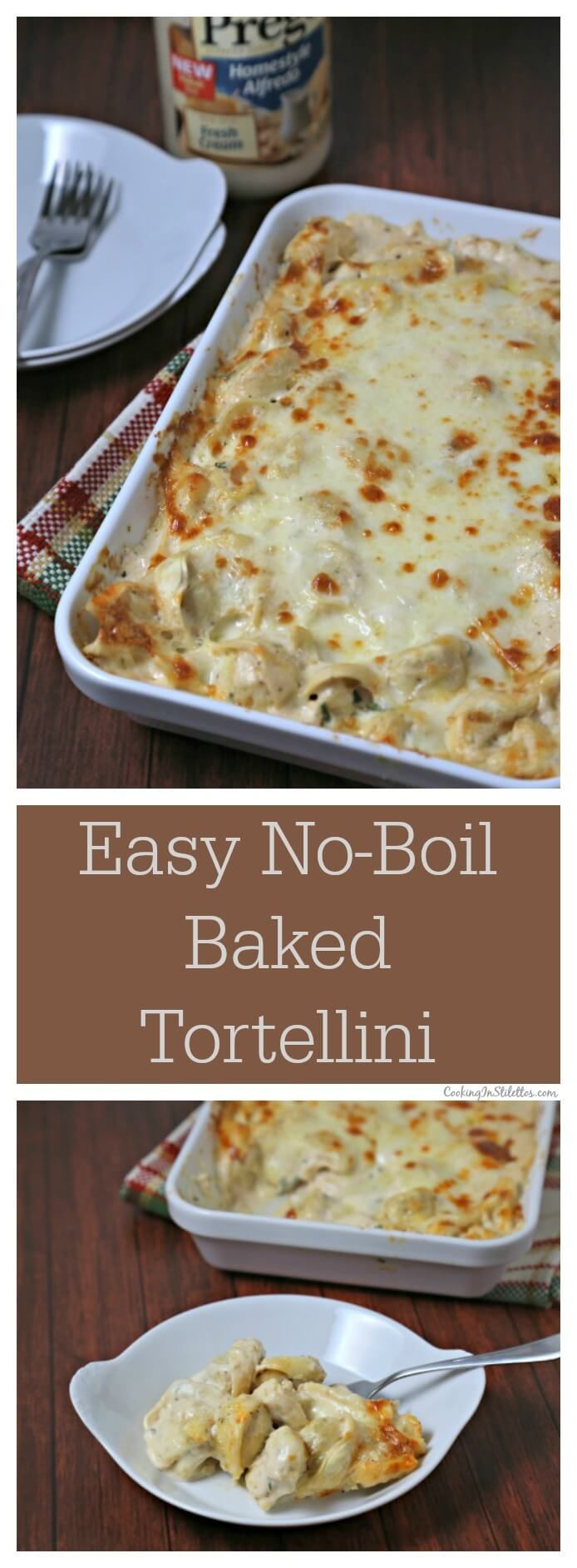 This Easy No-Boil Baked Tortellini from CookingInStilettos.com comes together in a flash. Refrigerated tortellini is tossed with a cheesy alfredo sauce and then baked to perfection under layers of smoked mozzarella cheese. This is comfort in every bite! #PregoSauce AD