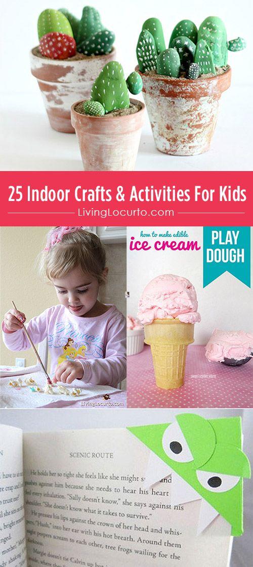 25 Indoor Crafts & Activities For Kids. Love these ideas! (die kaktusjes)