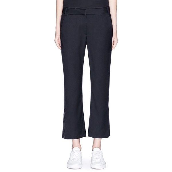 Dion Lee 'Evening' satin outseam cropped wool tuxedo pants (17,565 MXN) ❤ liked on Polyvore featuring pants, capris, black, stripe pants, cropped pants, tailored pants, holiday pants and tuxedo stripe pants