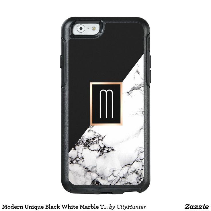 Modern Unique Black White Marble Texture Monogram